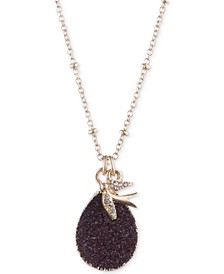 "Gold-Tone Burgundy Druzy Pendant Necklace & Phone Card Holder Set, 16"" + 3"" extender, Created for Macy's"