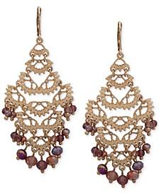 Gold-Tone Pavé & Bead Chandelier Earrings