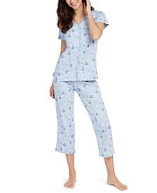 Cotton Short-Sleeve Top & Capri Pajama Pants Set, Created For Macy's