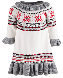 Blueberi Boulevard Baby Girls Cotton Sweater Dress
