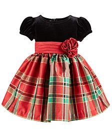 Baby Girls Velvet & Metallic Plaid Taffeta Dress