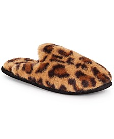 INC Women's Animal-Print Faux-Fur Scuff Slippers, Created For Macy's
