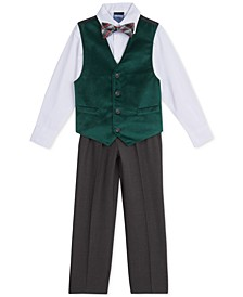 Little Boys 4-Pc. Green Velvet Vest Set