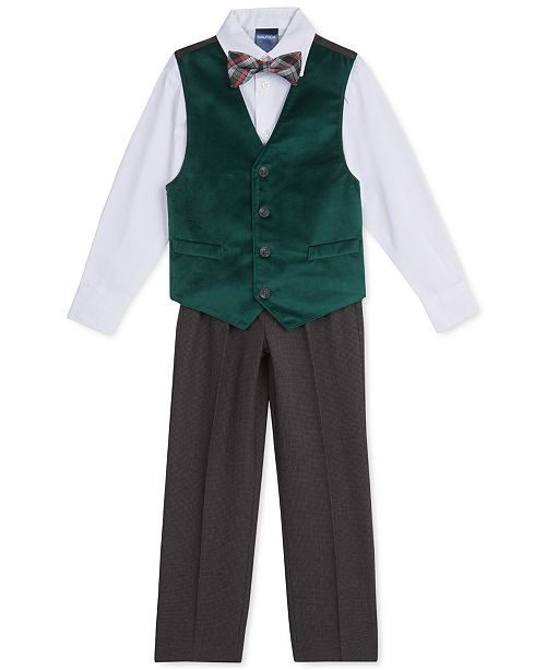 Nautica Toddler Boys 4-Pc. Green Velvet Vest Set