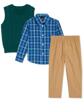 Blue Plaid Corduroy Shorts w//Cream Collared Shirt Boys Clothing Set