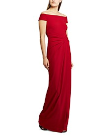 Cap-Sleeve Crepe Gown