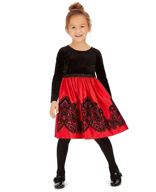 Rare Editions Toddler Girls Flocked Velvet Dress