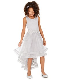 Big Girls Glitter-Mesh High-Low Dress, Created for Macy's