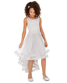 Speechless Big Girls Glitter-Mesh High-Low Dress, Created for Macy's
