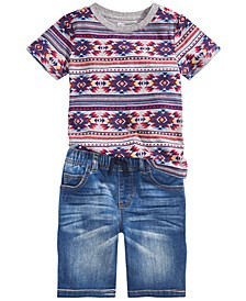Toddler Boys Fair Isle-Print T-Shirt & Baxter Stretch Denim Shorts, Created For Macy's
