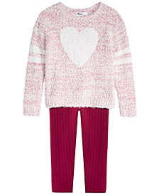 Little Girls Heart Sweater & Cable-Knit Leggings, Created For Macy's