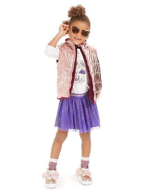 Epic Threads Little Girls Reversible Vest, Glitter T-Shirt & Sparkle Skirt, Created For Macy's