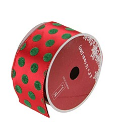 """Pack of 12 Red and Shimmering Green Polka Dot Wired Christmas Craft Ribbon Spools - 2.5"""" x 120 Yards Total"""