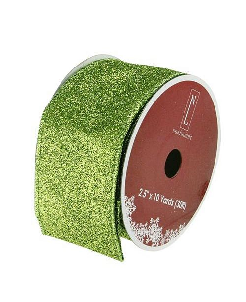 """Northlight Shimmering Lime Green Solid Wired Christmas Craft Ribbon 2.5"""" x 10 Yards"""
