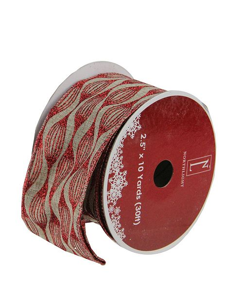 "Northlight Pack of 12 Faded Rustic Red and White Ikat Wired Christmas Craft Ribbon Spools - 2.5"" x 120 Yards Total"