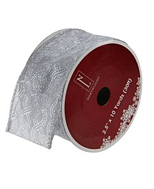 "Pack of 12 Glittering Metallic Silver Swirl Wired Christmas Craft Ribbon Spools - 2.5"" x 120 Yards Total"