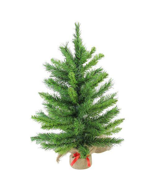 "Northlight 24"" Mixed Kateson Fir Artificial Christmas Tree in Burlap Base - Unlit"