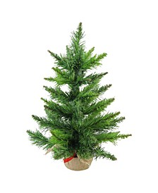 "18"" Mini Balsam Pine Artificial Christmas Tree in Burlap Base - Unlit"