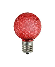 Pack of 25 Faceted LED G40 Red Christmas Replacement Bulbs