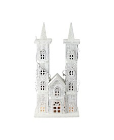 """15.75"""" LED Lighted White Wooden Snowy Double Tower Church Christmas Decoration"""