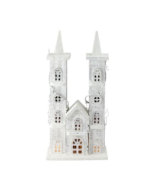 """Northlight 15.75"""" LED Lighted White Wooden Snowy Double Tower Church Christmas Decoration"""