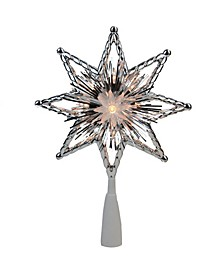 """8"""" Retro Silver-Tone Tinsel 8-Point Star Christmas Tree Topper - Clear Lights"""