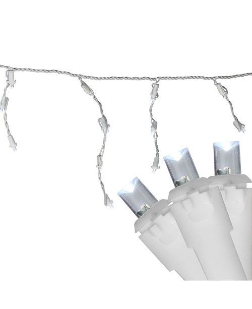Northlight Set of 100 Pure White LED Wide Angle Icicle Christmas Lights - White Wire