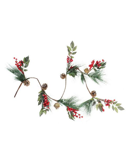 """Northlight 54"""" Snow Dusted Pine Cones Berries and Long Pine Needles Artificial Christmas Garland - Unlit"""