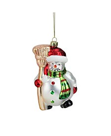 Portly Smiling Snowman with Broom Glass Christmas ornament
