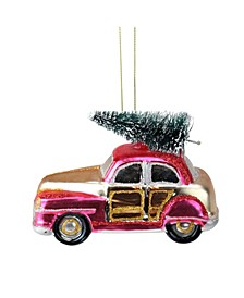 "4.75"" Red Embellished Car with Christmas Tree on Top Glass Christmas Ornament"