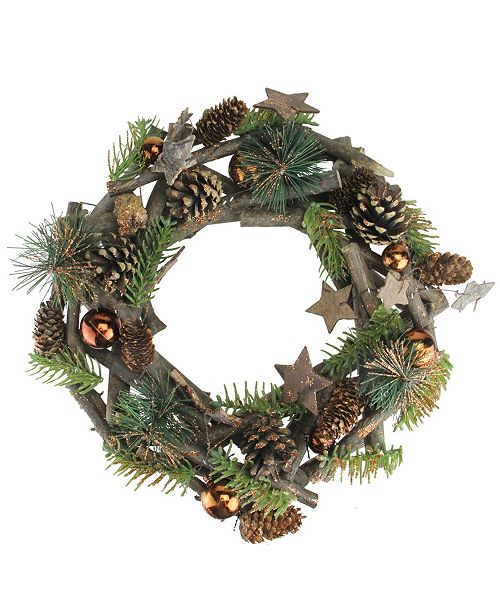 """Northlight 12"""" Wooden Stars and Pine Cones Winter Foliage Twig Christmas Wreath - Unlit"""