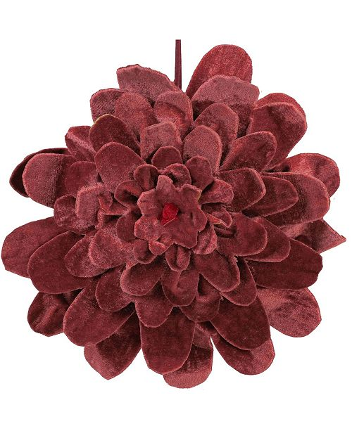 "Northlight 9.5"" Nature's Luxury Decorative Mahogany Red Velvet Flower Christmas Ornament"