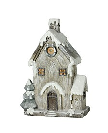 Led Lighted Battery Operated Rustic Glitter House Christmas Decoration