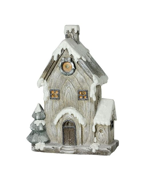 "Northlight 30"" LED Lighted Battery Operated Rustic Glittered House Christmas Decoration"