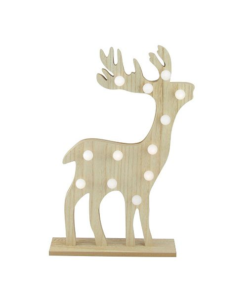 """Northlight 15.75"""" Battery Operated LED Lighted Wooden Reindeer Decorative Figurine"""