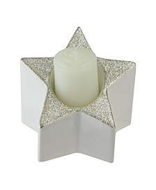 "4"" Champagne Gold Glittered and White Star Shaped Pillar Candle Holder Decoration"