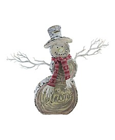 "19.5"" LED Lighted Faux Wood ""Welcome"" Snowman Christmas Decoration"
