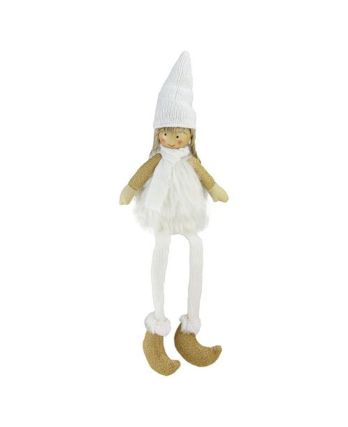"""Northlight 16"""" Sitting Girl with Hat Scarf and Dangling Legs Tabletop Decoration"""