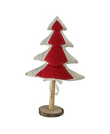 """14"""" Red and Neutral Christmas Tree with Wooden Base Tabletop Decoration"""
