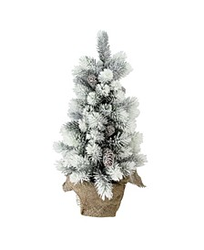 "19"" Flocked Mini Pine Artificial Christmas Tree in Burlap Base - Unlit"