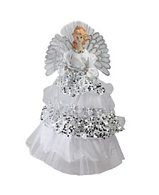 """16"""" Lighted Fiber Optic Angel in Silver Sequined Gown Christmas Tree Topper"""