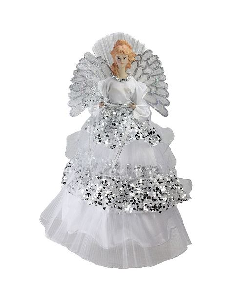 Northlight Lighted Fiber Optic Angel in Silver-Tone Sequined Gown Christmas Tree Topper