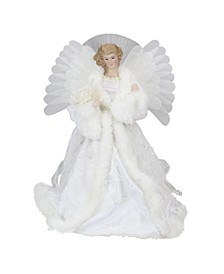 1 Lighted Fiber Optic Angel with White Gown Christmas Tree Topper