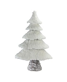 "20.5"" Rustic Birch Wood Tree with Faux Snow Canopy Christmas Decoration"
