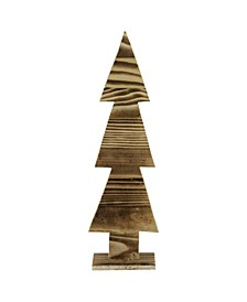 """16.25"""" Rustic Wood Cut-Out Christmas Tree Table Top Decoration"""