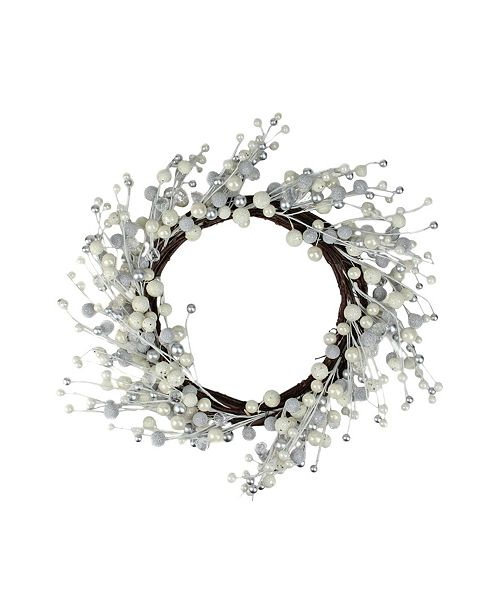 """Northlight 20"""" Winter Wonderland Ivory and Silver Ball Ornaments on a Natural Vine Wrapped Wreath"""