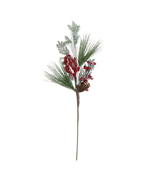 """Northlight 31"""" Bells Berries and Pine Cones Frosted Artificial Christmas Spray Branch"""