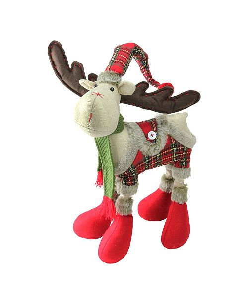 """Northlight 25"""" Plush Nordic Red and Green Plaid Reindeer Christmas Table Top Figure"""