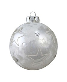 Frosted and Star Silver-Tone Glass Christmas ornament