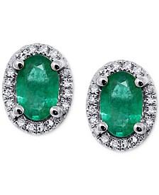 Emerald (5/8 ct. t.w.) & Diamond (1/10 ct. t.w.) Oval Halo Stud Earrings in 14k White Gold